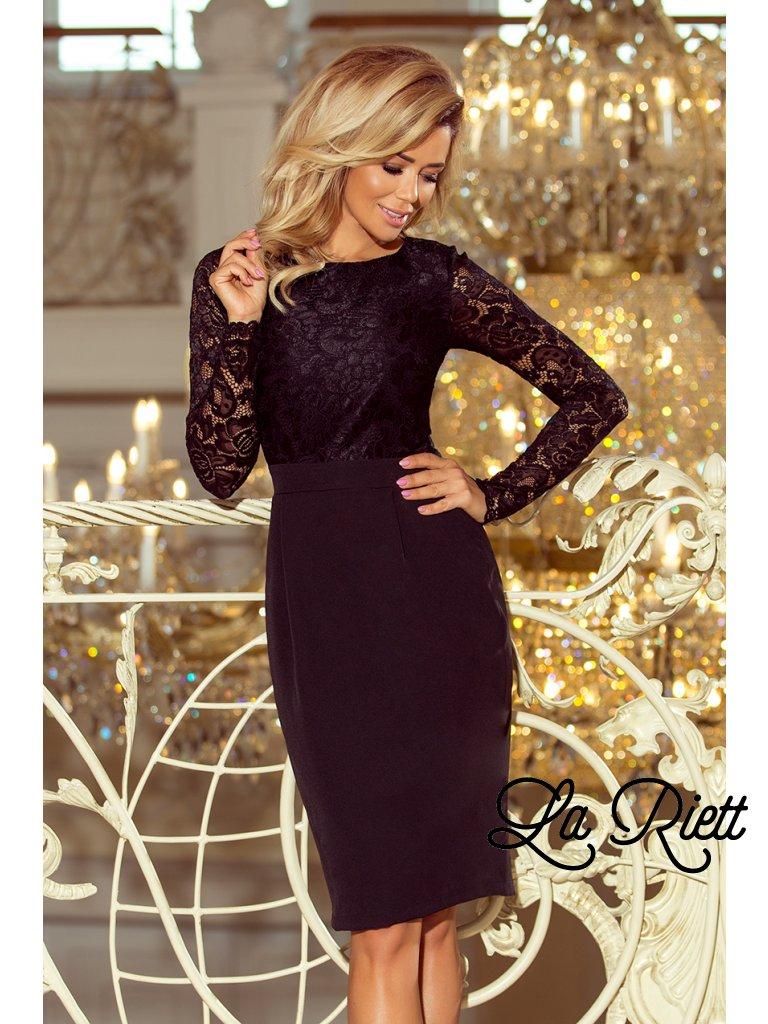 Dámske elegantné šaty s čipkou čierne 216-2