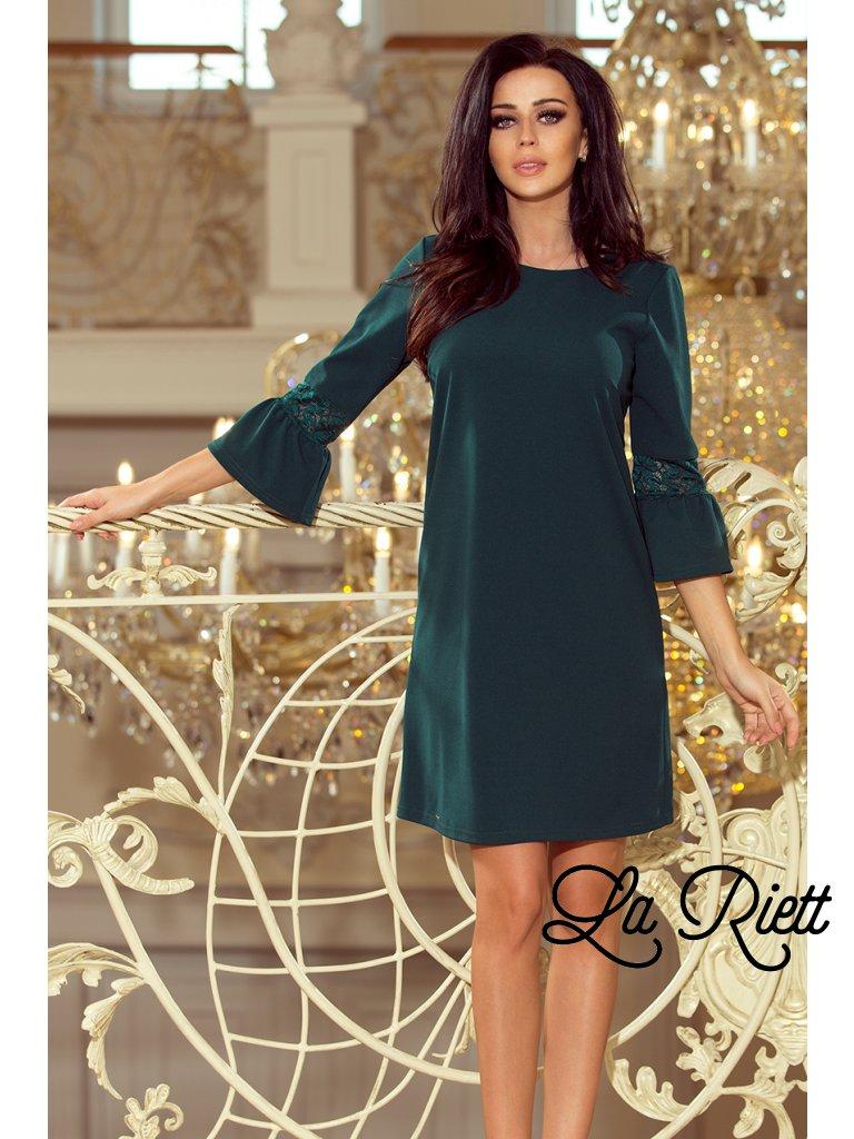 Šaty s krajkou na rukávoch tmavozelené 190-7