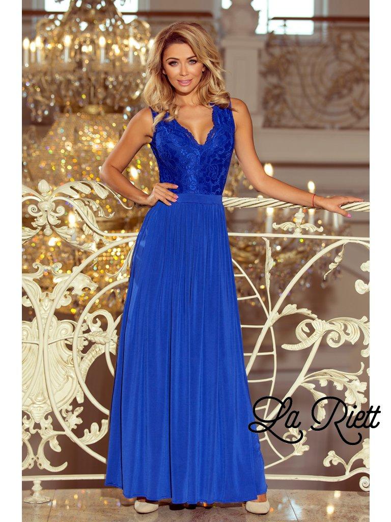 Dlhé čipkované  šaty modré 211-3