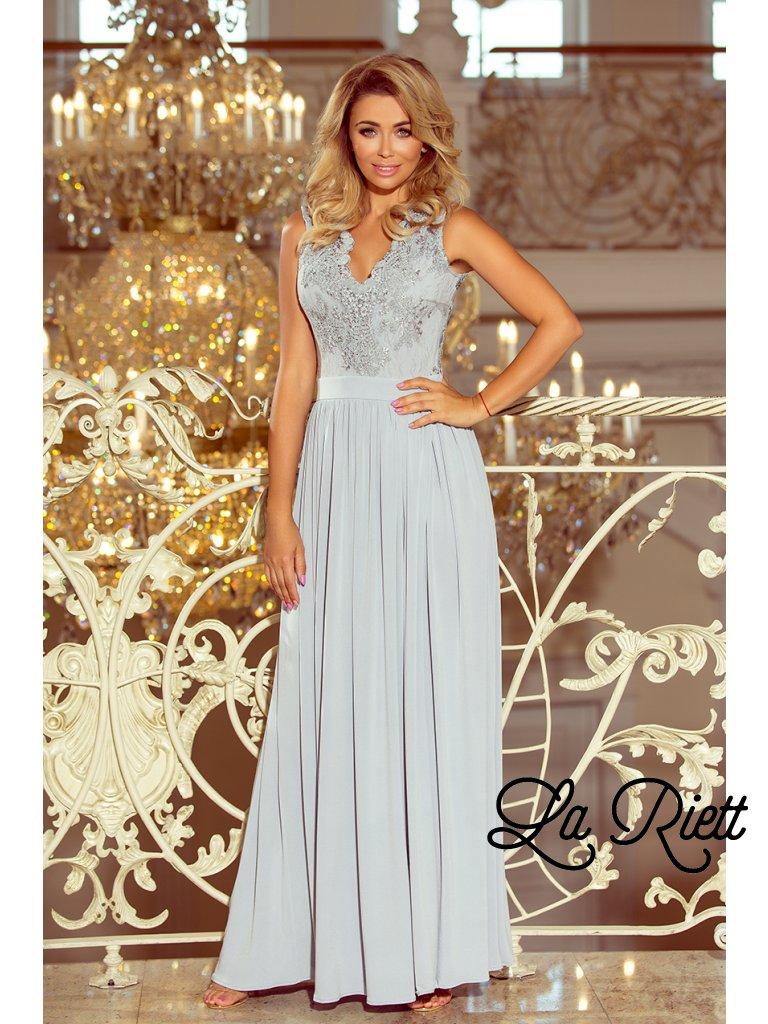 Dlhé šaty s vyšívaným vystrihom sivé 215-1