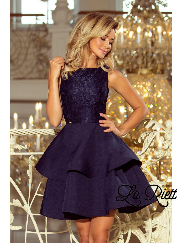 Koktejlové šaty s čipkou tmavomodré 205-3