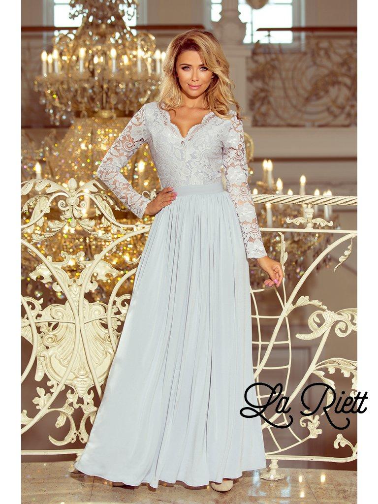Dlhé šaty s vyšívaným výstrihom šedé 214-2
