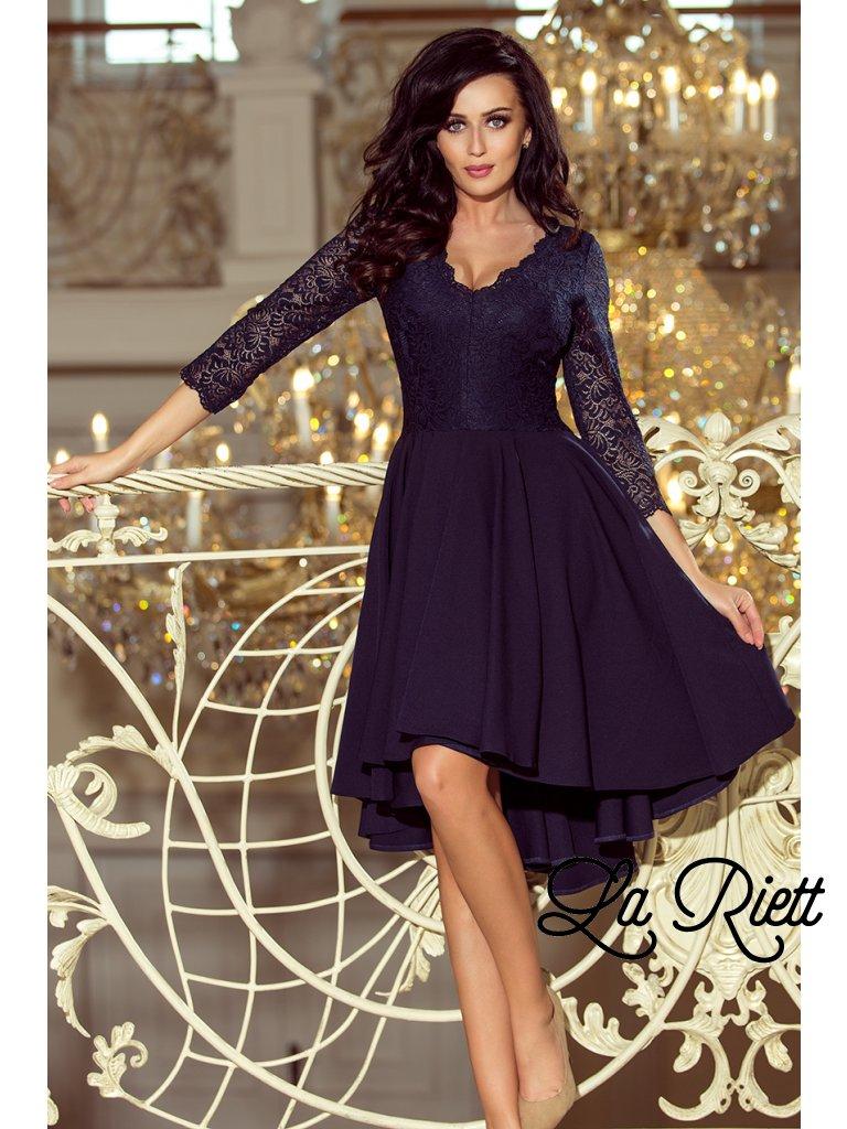 Šaty s krajkovými rukávmi tmavomodré 210-2