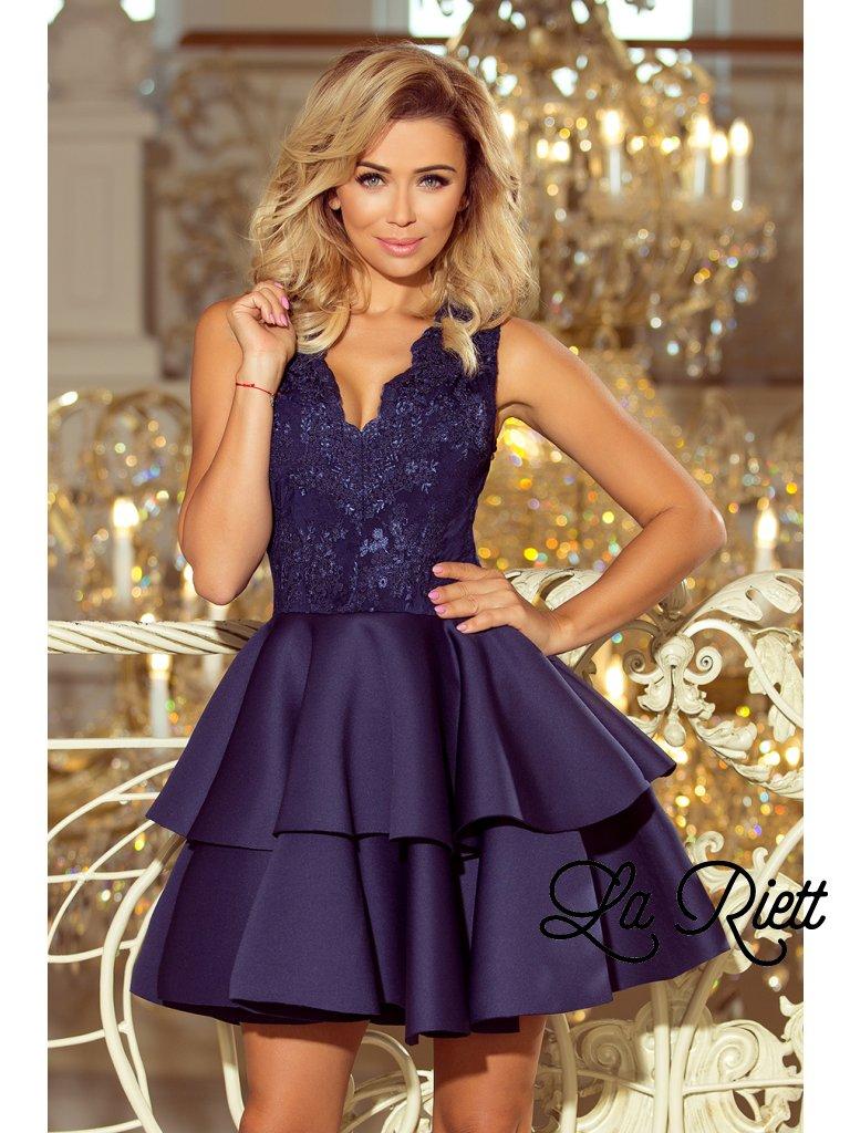 Elegantné krajkové šaty tmavomodré  207-2