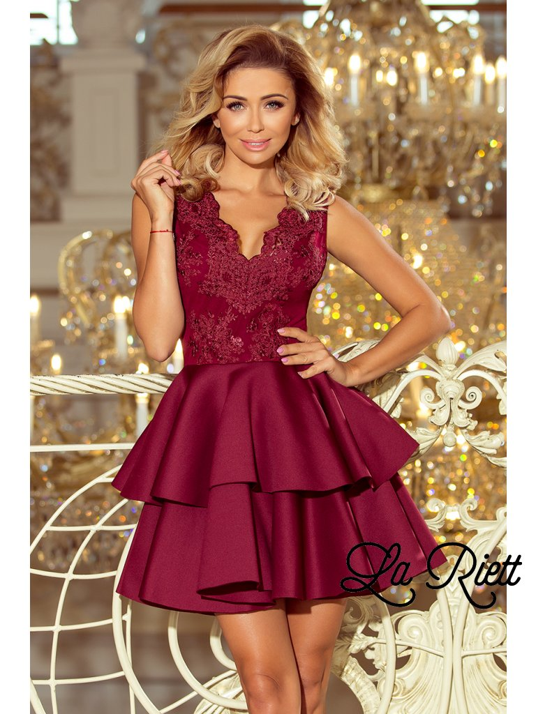 Elegantné krajkové šaty burgundy 207-1