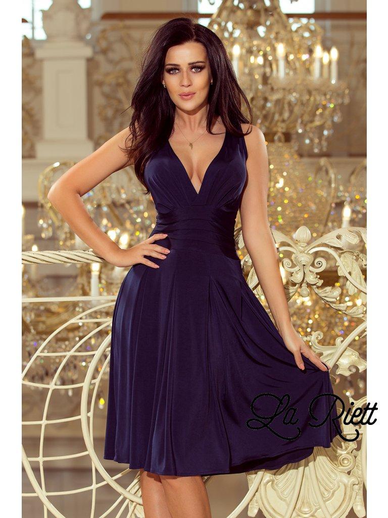Dámske šaty s hlbokým vystrihom tmavomodre 219-1