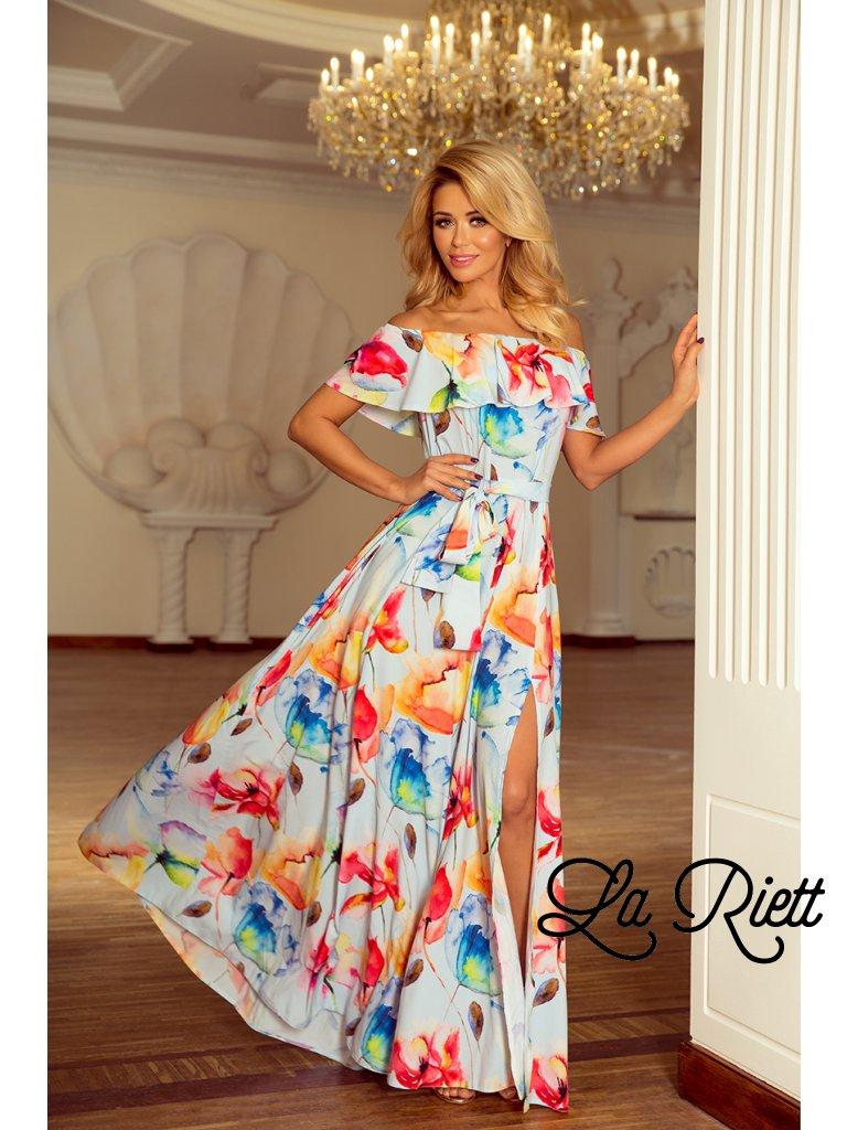 Kvetované dlhé šaty s hispánskym výstrihom - farebné kvety 194-1