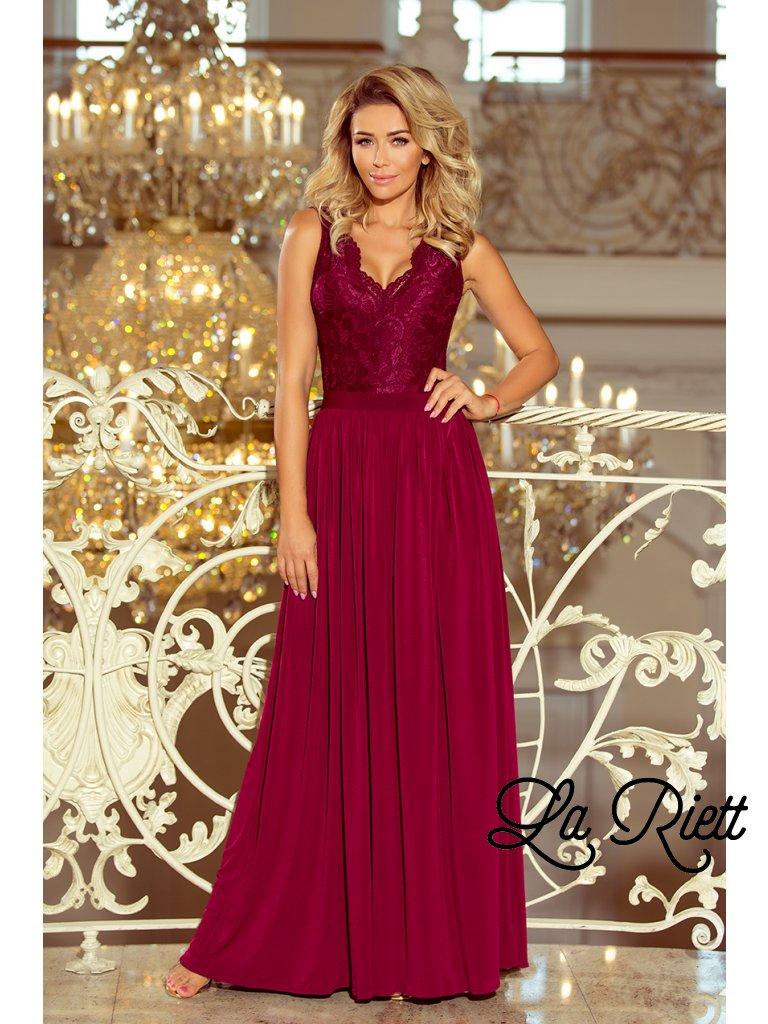 Dlhé čipkované šaty Burgundy 211-2