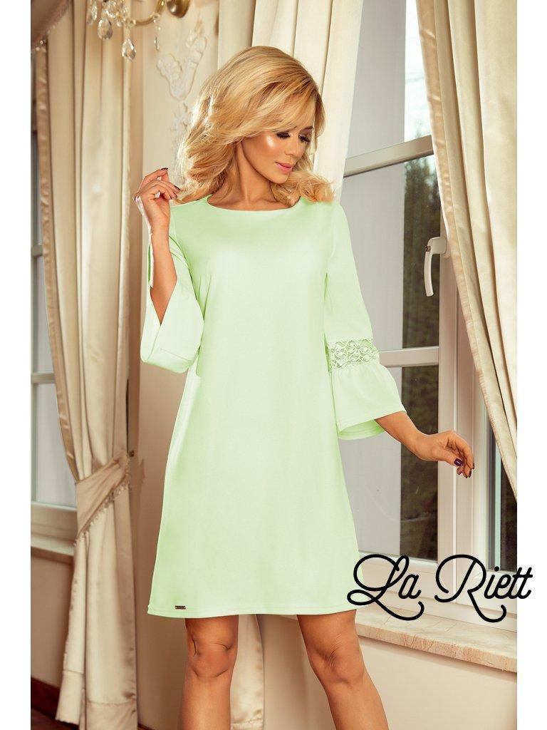 Šaty s krajkou na rukávoch pistachio 190-9