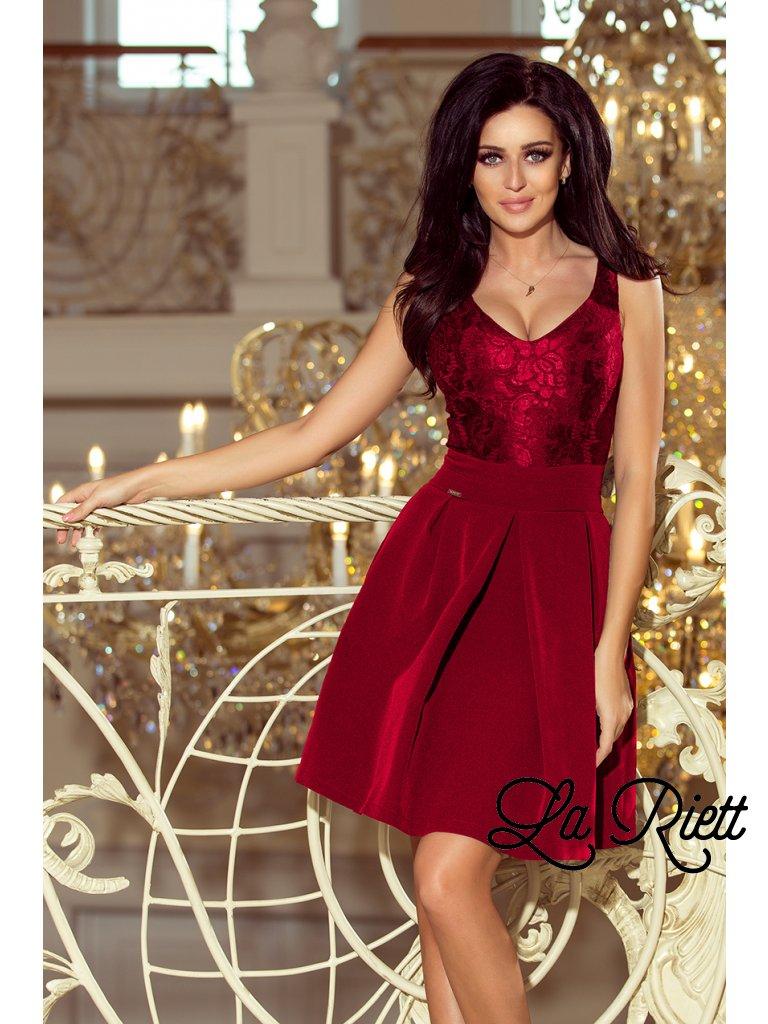 Elegantné šaty s V-čkovým vystrihom Burgundy  208-3