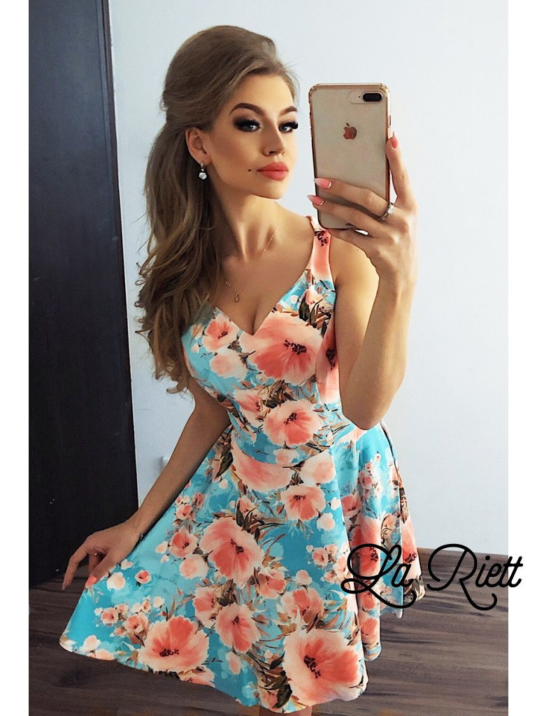 MM 014-9 Dress - heart-shaped neckline - Peach flowers