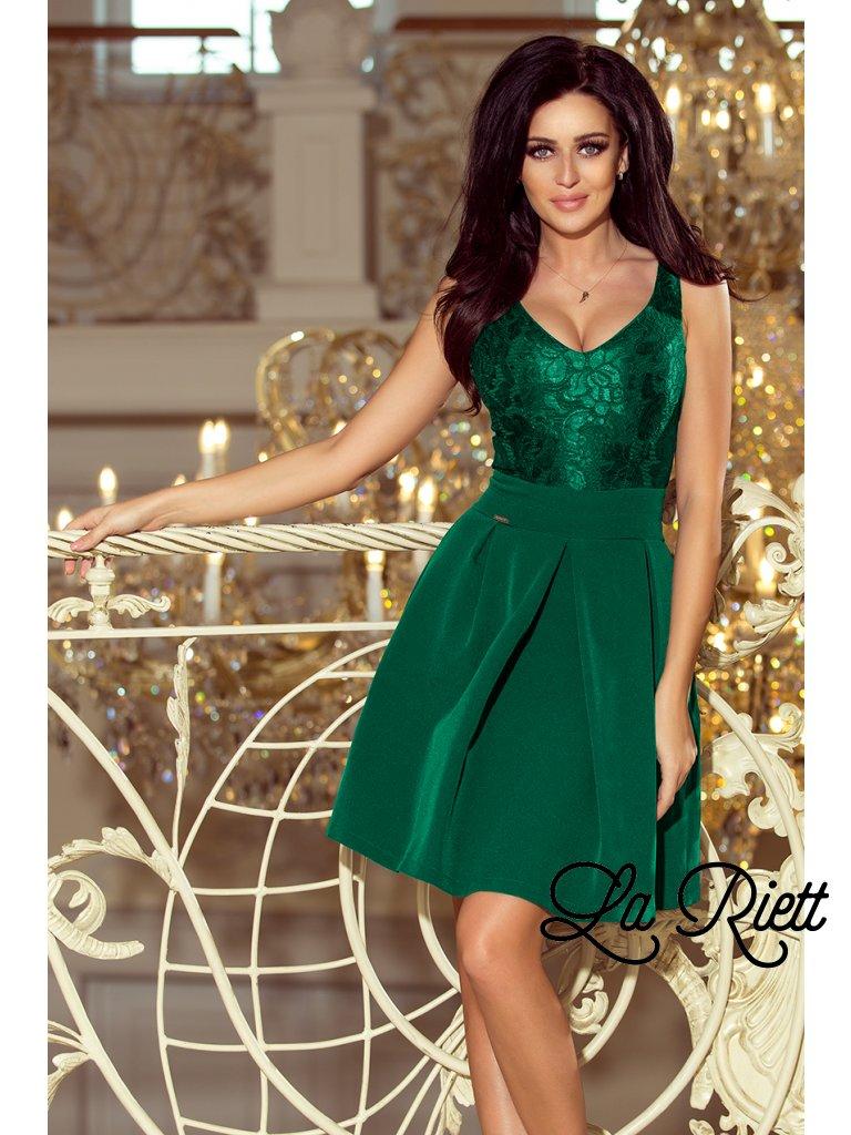 Elegantné šaty s V-čkovým výstrihom tmavozelene 208-4