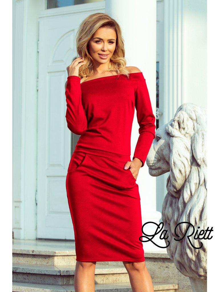 Šaty s odhalenými ramenami červené 225-3