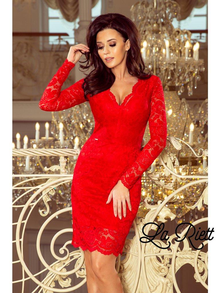 Červené čipkované šaty 170-6