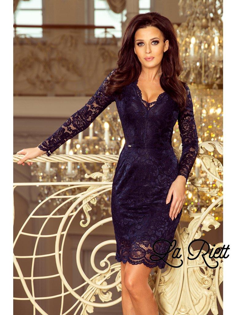 Tmavoodré čipkované šaty 170-7