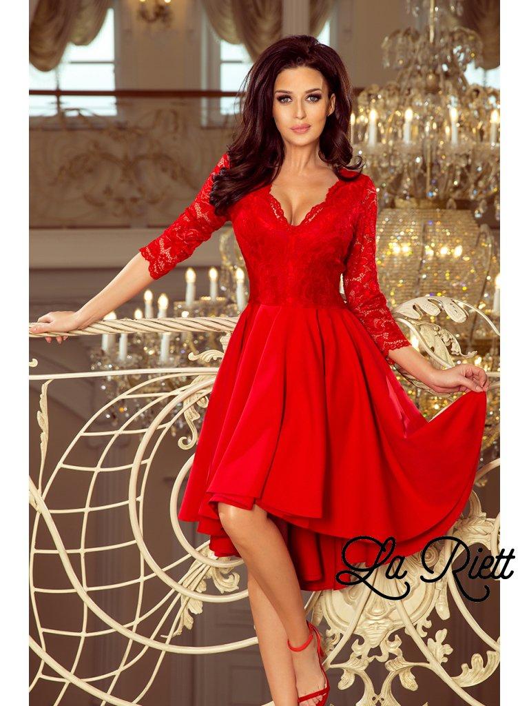 Šaty s krajkovými rukávmi červené  210-6