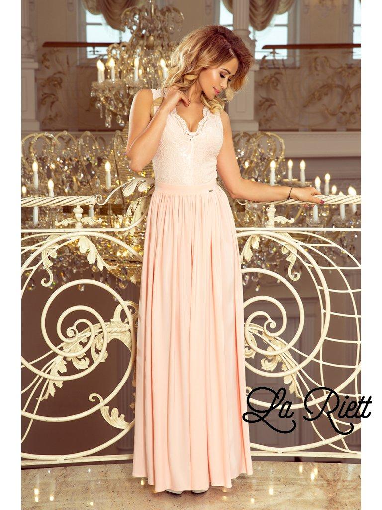 Dlhé čipkované šaty peach 211-4