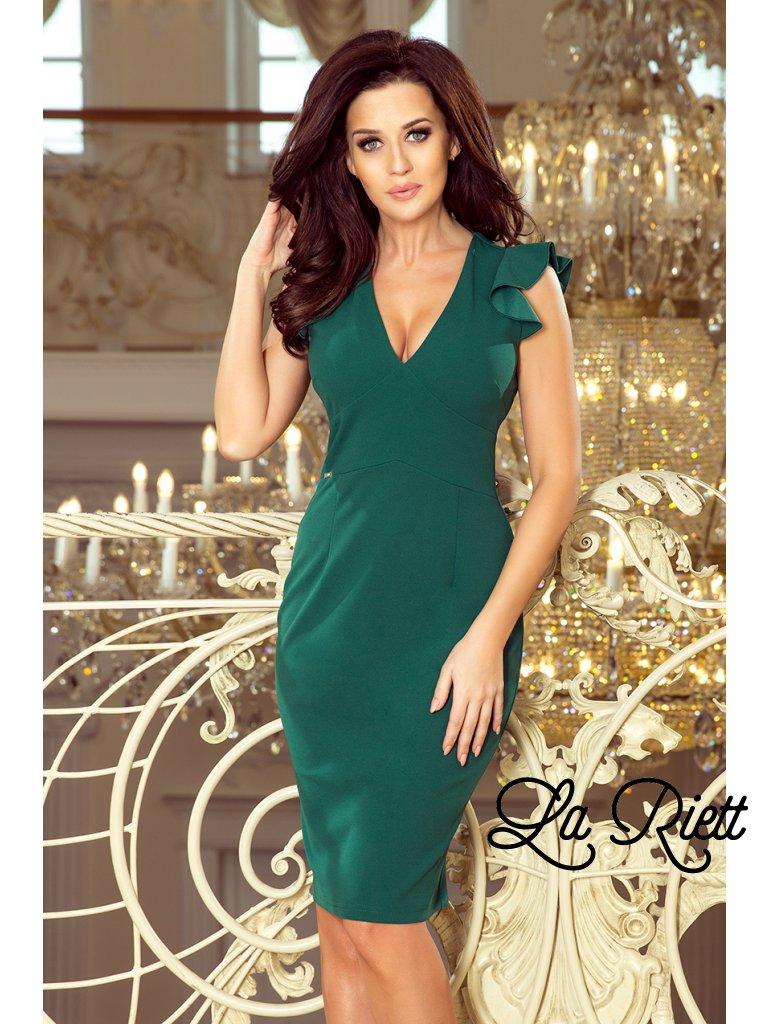 Šaty s výstrihom a s volánikmi- green 227-1