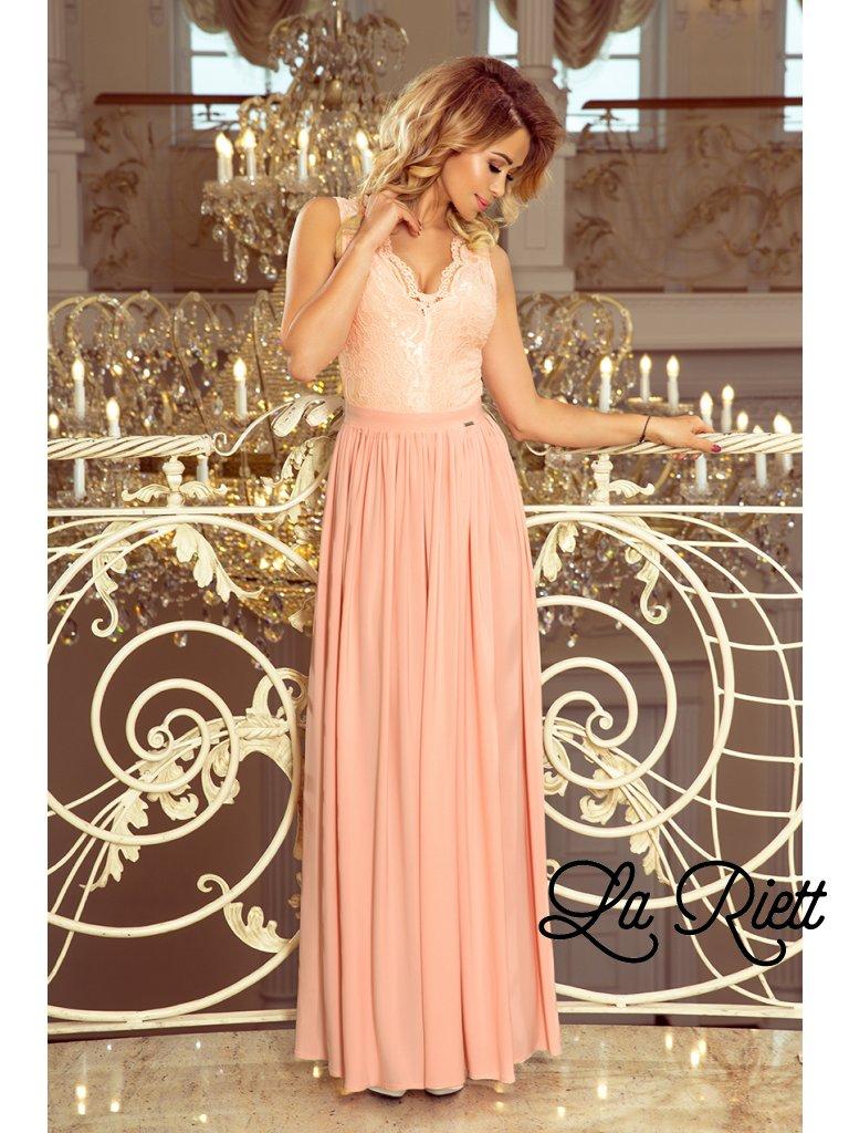 Dlhe čipkovane šaty pink 211-5