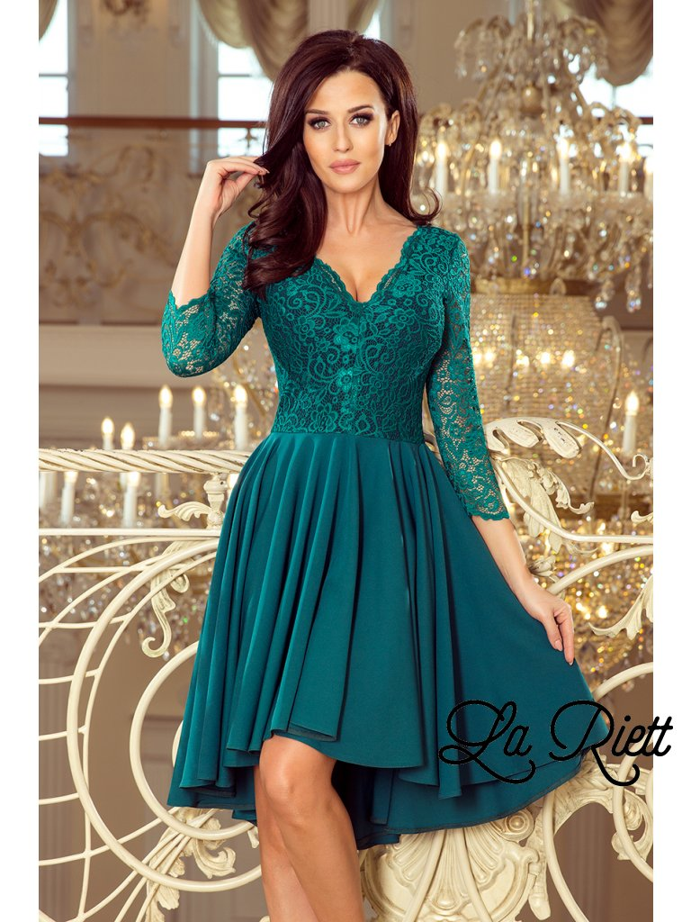Šaty s krajkovými rukávmi  Green 210-8