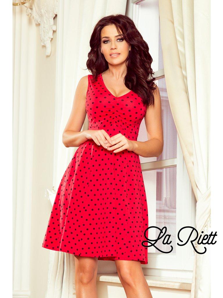 Červené bodkované šaty 238-1