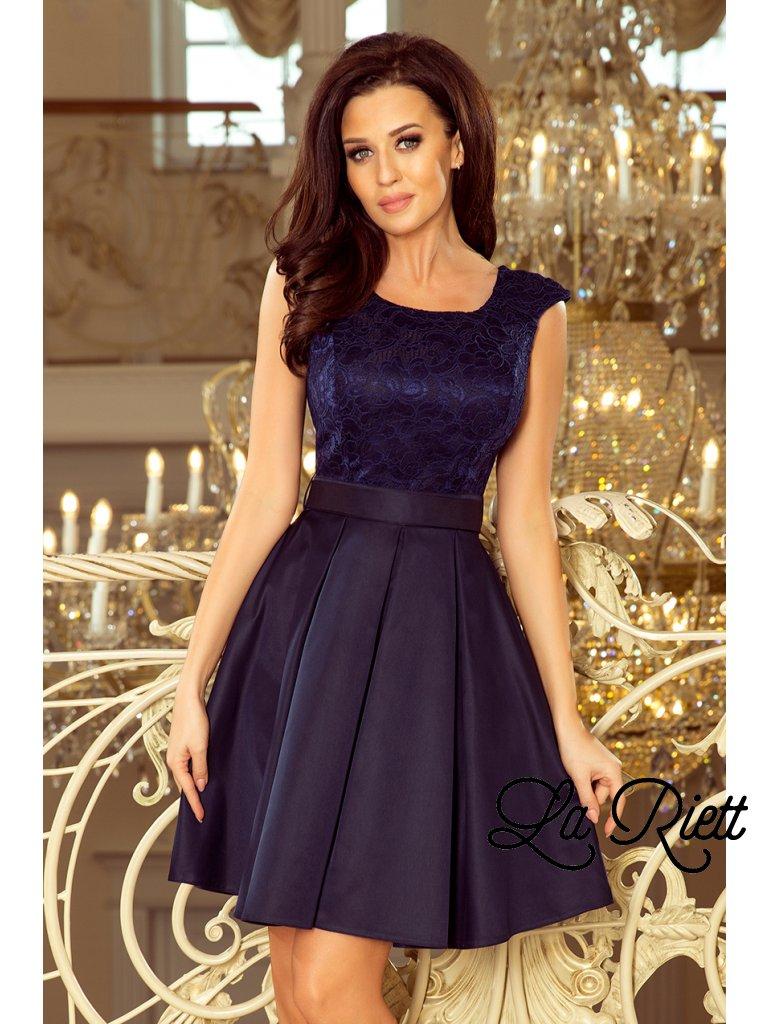 FLORA šaty s okrúhlym výstrihom a čipkou tmavomodre 244-2