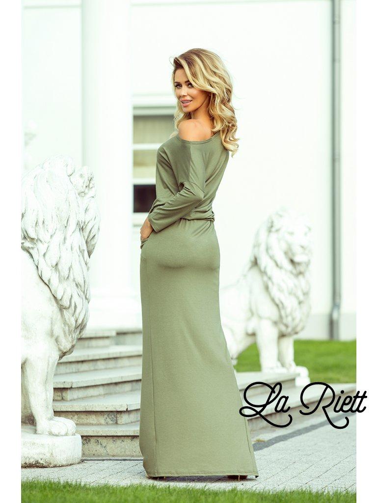Maxi šaty  v olivovej farbe 220-1