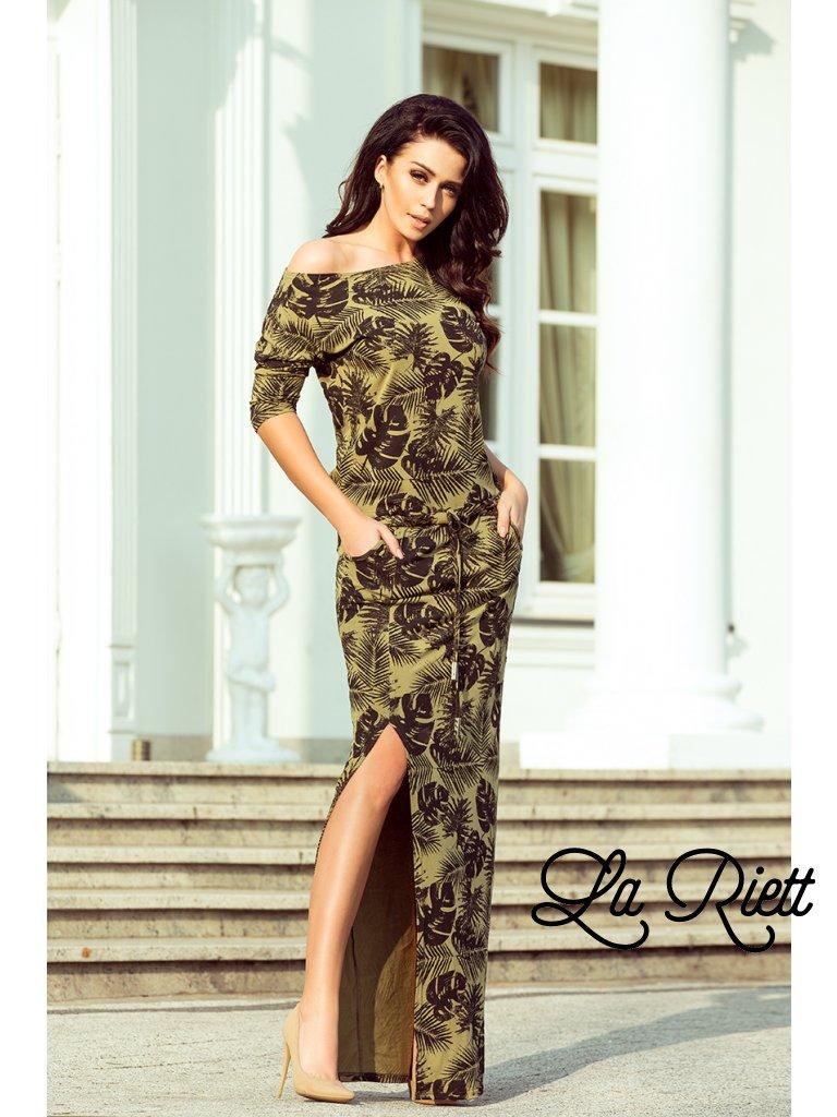 Maxi šaty khaki s listami 220-2
