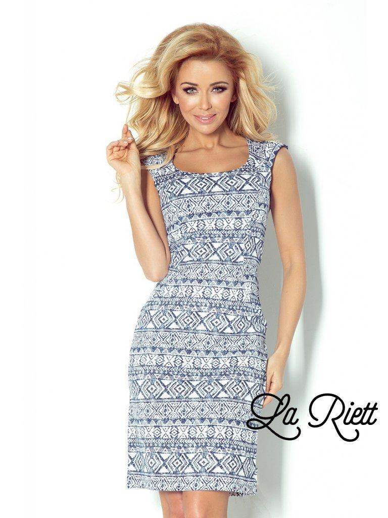 Fitted dress -  ecru + Blue 53-14 (Veľkosť XL)