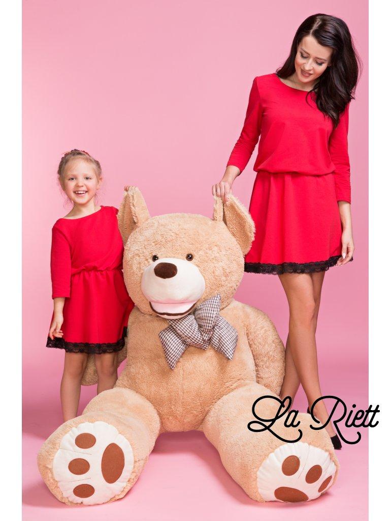 Šaty s čipkou červene