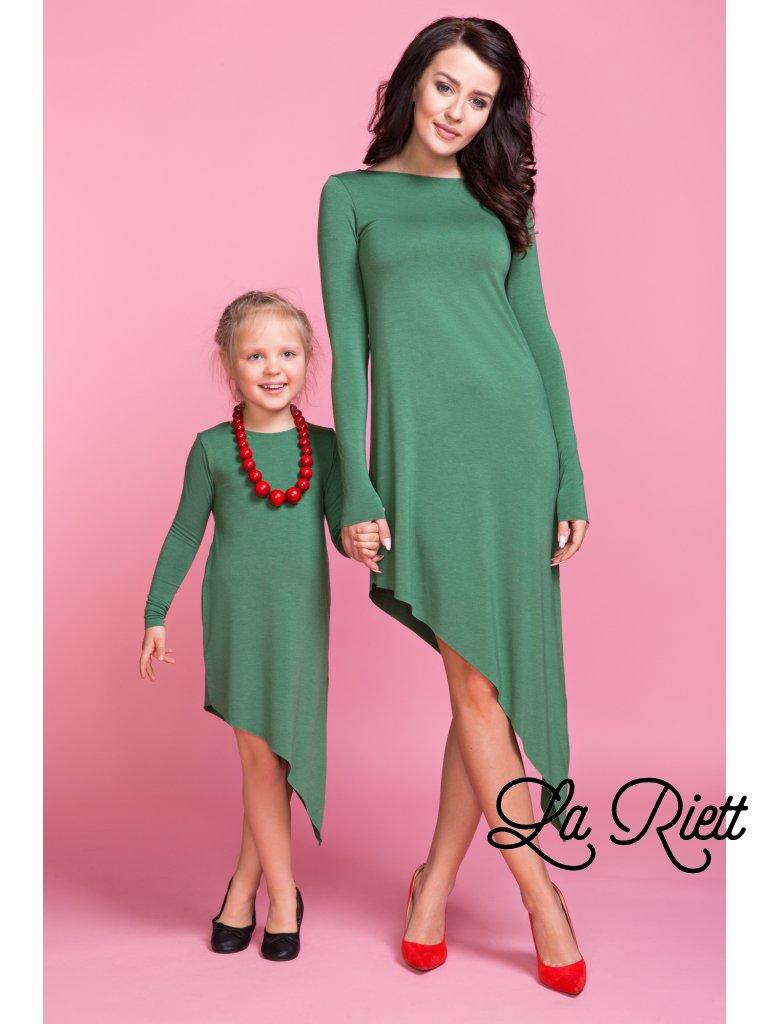 Asymetrické šaty green