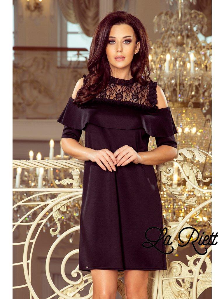 Elegantné čierne šaty s čipkou 247-1