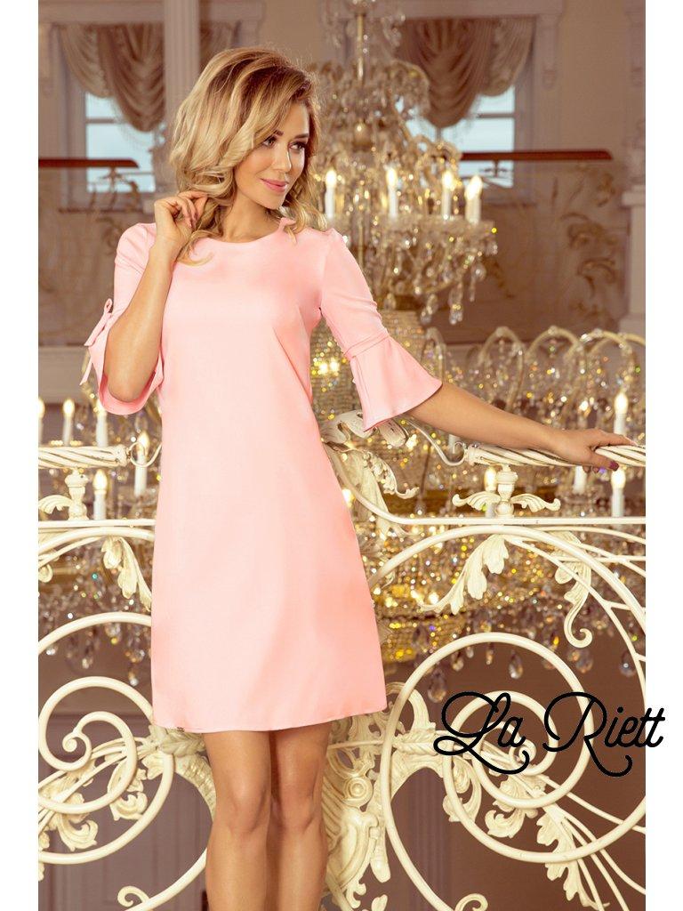 Ružové šaty s volánmi na rukávoch 217-4