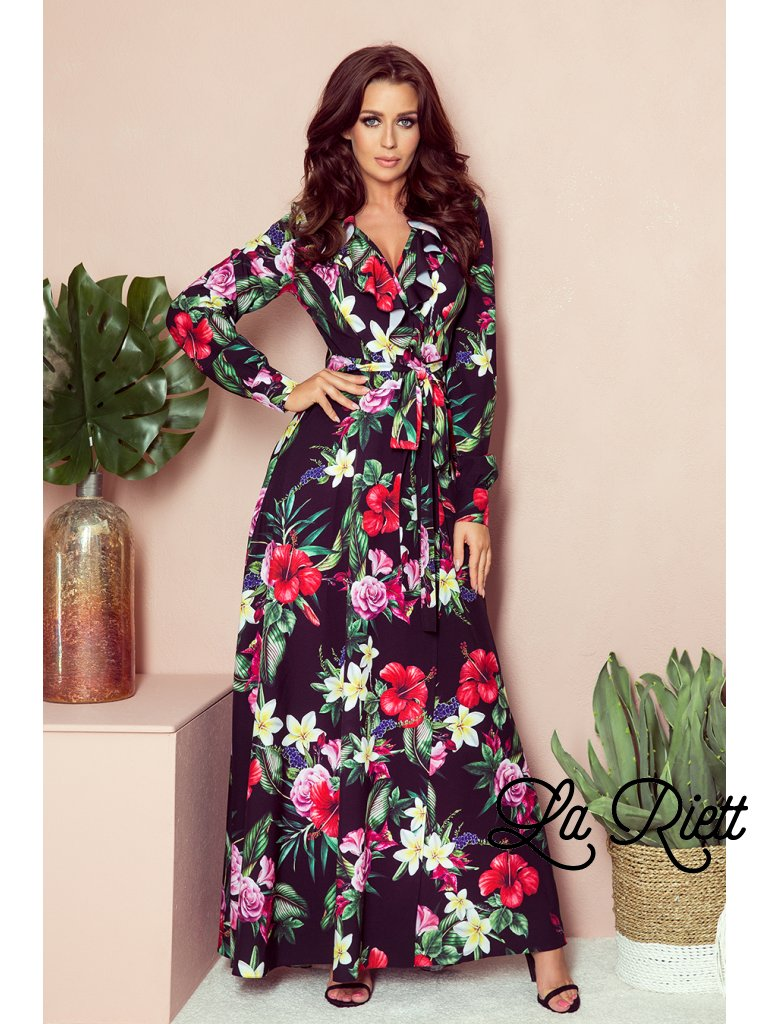 Maxi šaty s kvetinovym vzorom 245-3