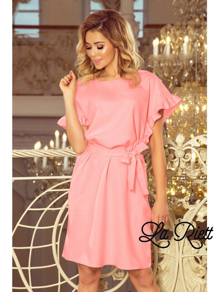 Volné šaty s volánikmi na rukávoch ružové 229-1