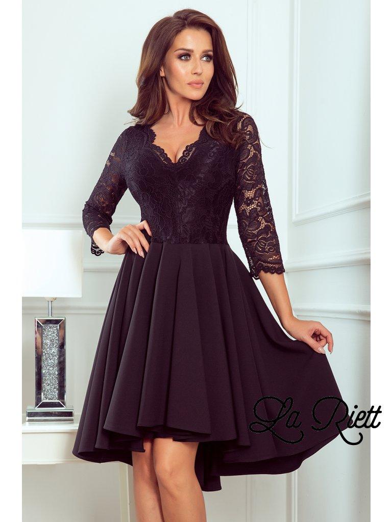 Šaty s krajkovými rukávmi čierne 210-10