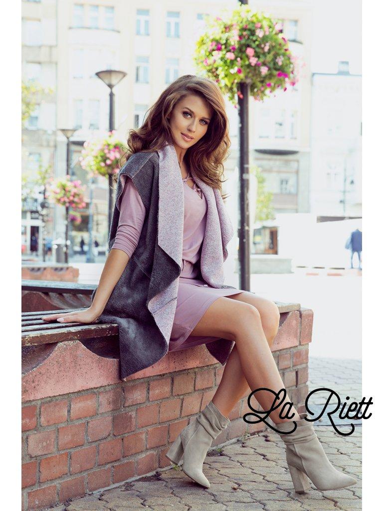 Ružovo-sivá obojstranná vesta 276-1