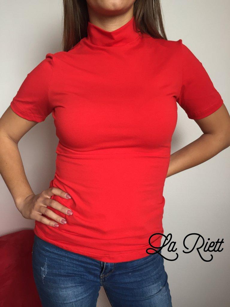 Tričko so stojačikom červené