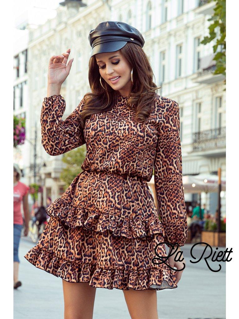 Dámske šaty s leopardím vzorom ROMI 285-1