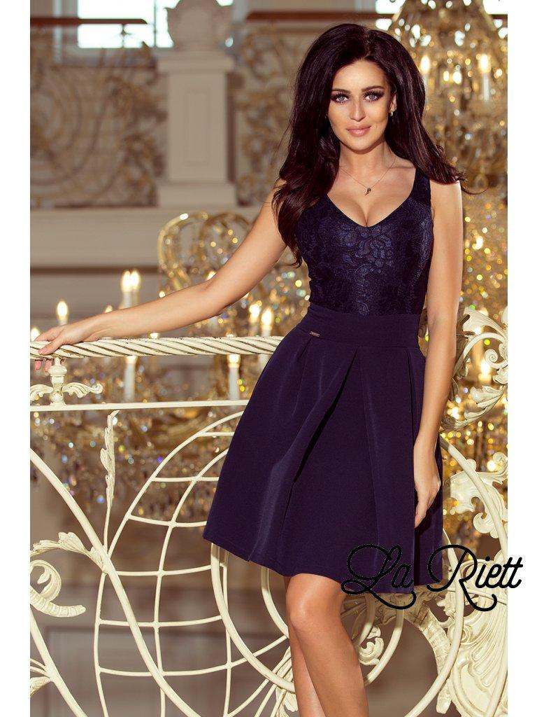 Elegantné šaty s V-čkovým vystrihom tmavomodré 208-1