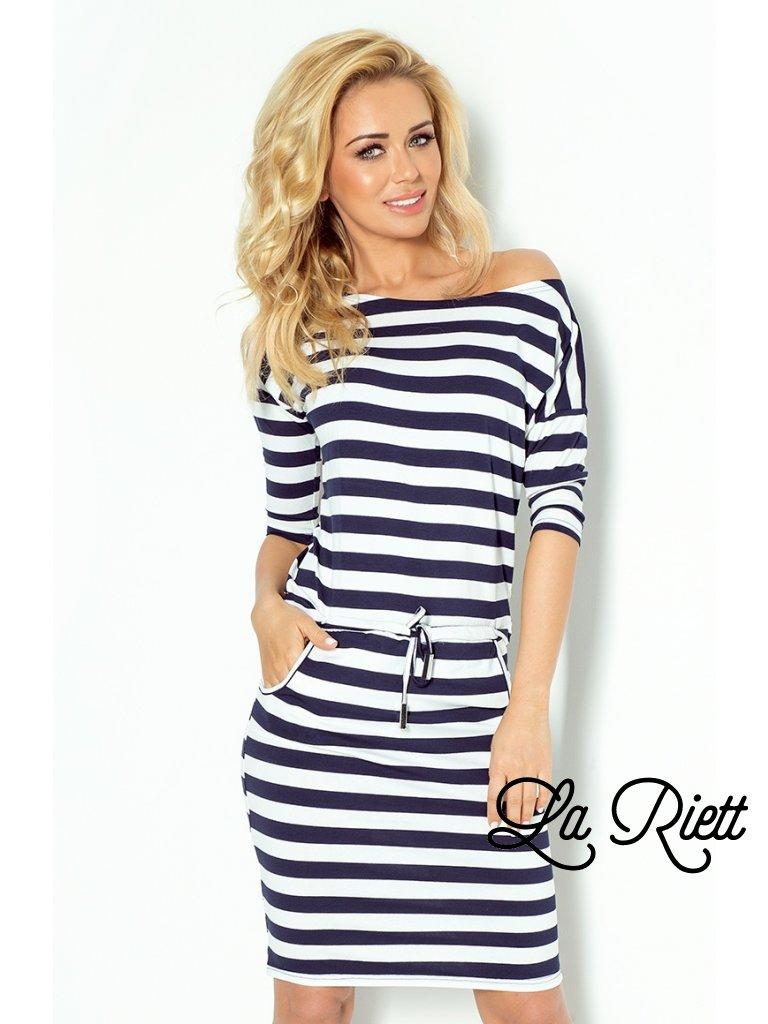 Sporty dress - Blue stripes 2x2cm  13-46 (Veľkosť XS)