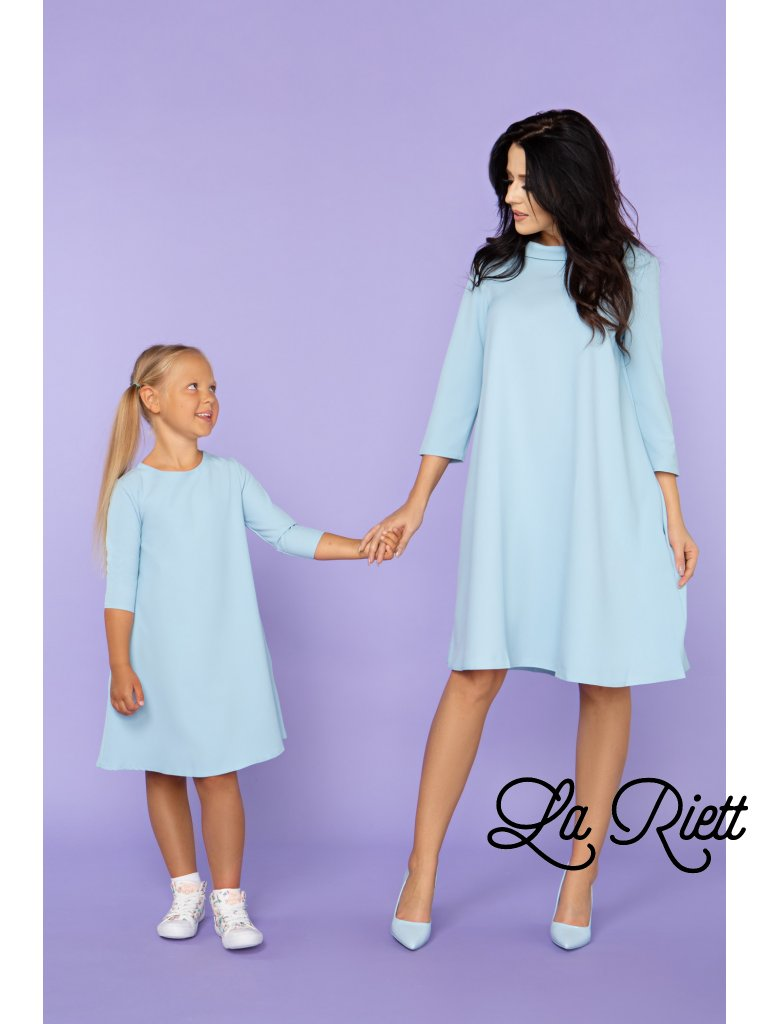 Šaty s vreckami light blue