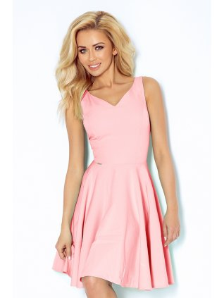 Dress circle - heart-shaped neckline - lihgt pink 114-5 (Veľkosť XL)