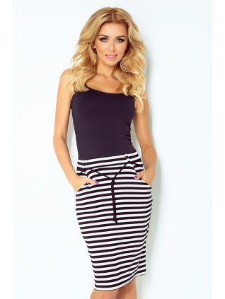 Skirt with pockets and drawstring - striped white-black 127-3 (Veľkosť XL)