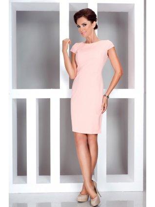 Elegant dress with short sleeves - peach 37-1 (Veľkosť XL)