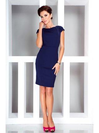 Elegant dress with short sleeves - Dark Blue 37-2 (Veľkosť XL)
