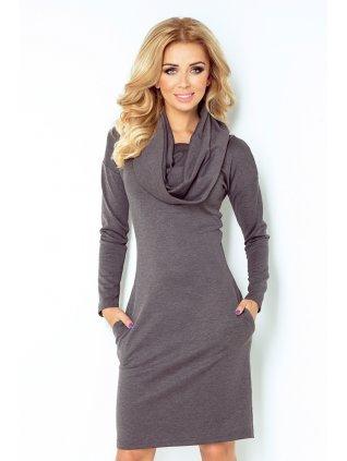 Dress with golf - gray 131-3 (Veľkosť XXL)