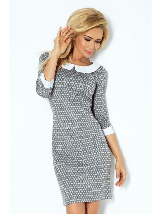 Šaty s golierikom - šedý labyrint 111-2