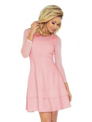 Ružové šaty  s tylovými rukávmi 141-7