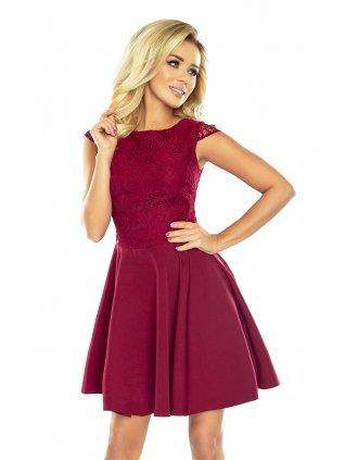 Šaty s krajkou burgundy 157-3